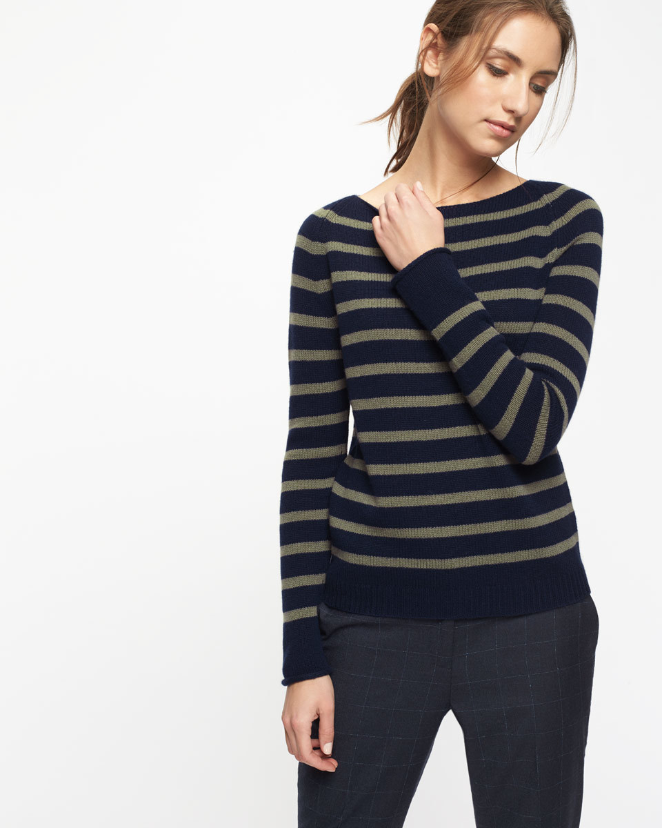 Cashmere Edie Stripe Jumper - neckline: slash/boat neckline; pattern: striped; style: standard; predominant colour: navy; occasions: casual, creative work; length: standard; fit: slim fit; fibres: cashmere - 100%; sleeve length: long sleeve; sleeve style: standard; texture group: knits/crochet; pattern type: knitted - fine stitch; season: a/w 2016; wardrobe: highlight