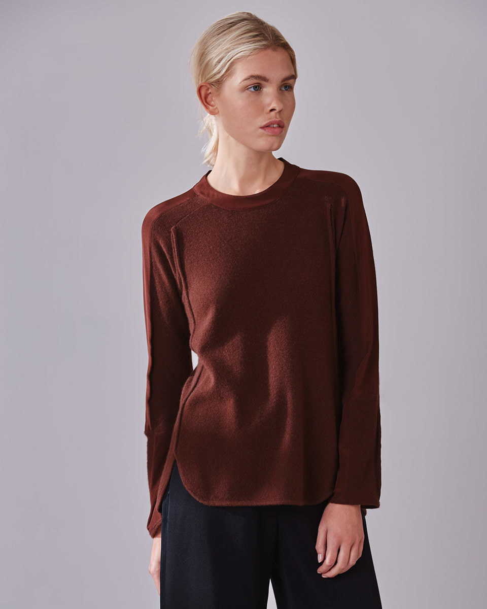 Wanda Crew Neck Knit - pattern: plain; predominant colour: burgundy; occasions: casual, work, creative work; length: standard; style: top; fit: body skimming; neckline: crew; fibres: cashmere - 100%; sleeve length: long sleeve; sleeve style: standard; texture group: knits/crochet; pattern type: fabric; season: a/w 2016; wardrobe: highlight
