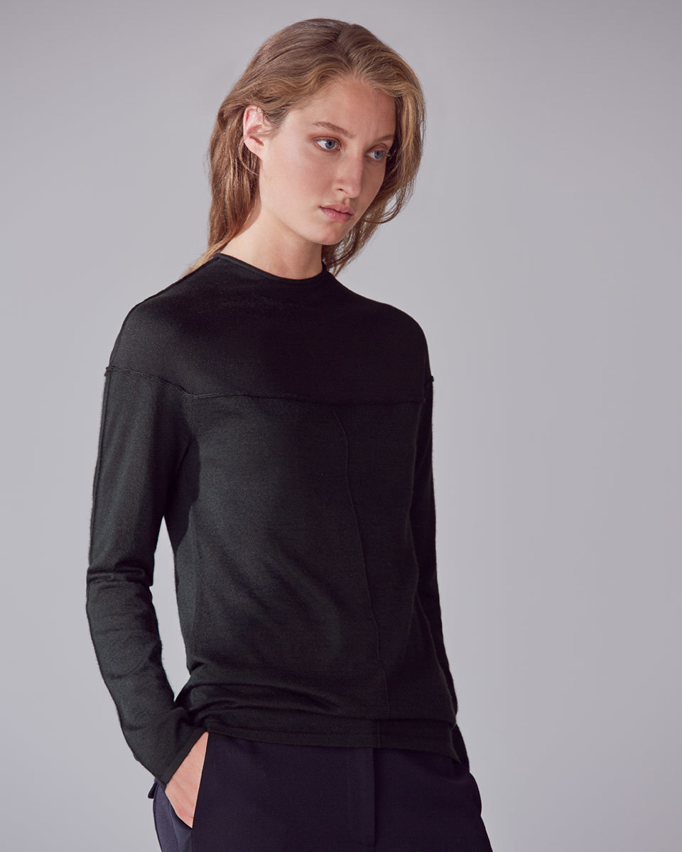 Pearl High Collar Knit - pattern: plain; predominant colour: black; occasions: casual, work, creative work; length: standard; style: top; fit: body skimming; neckline: crew; fibres: cashmere - 100%; sleeve length: long sleeve; sleeve style: standard; texture group: knits/crochet; pattern type: knitted - fine stitch; wardrobe: basic; season: a/w 2016