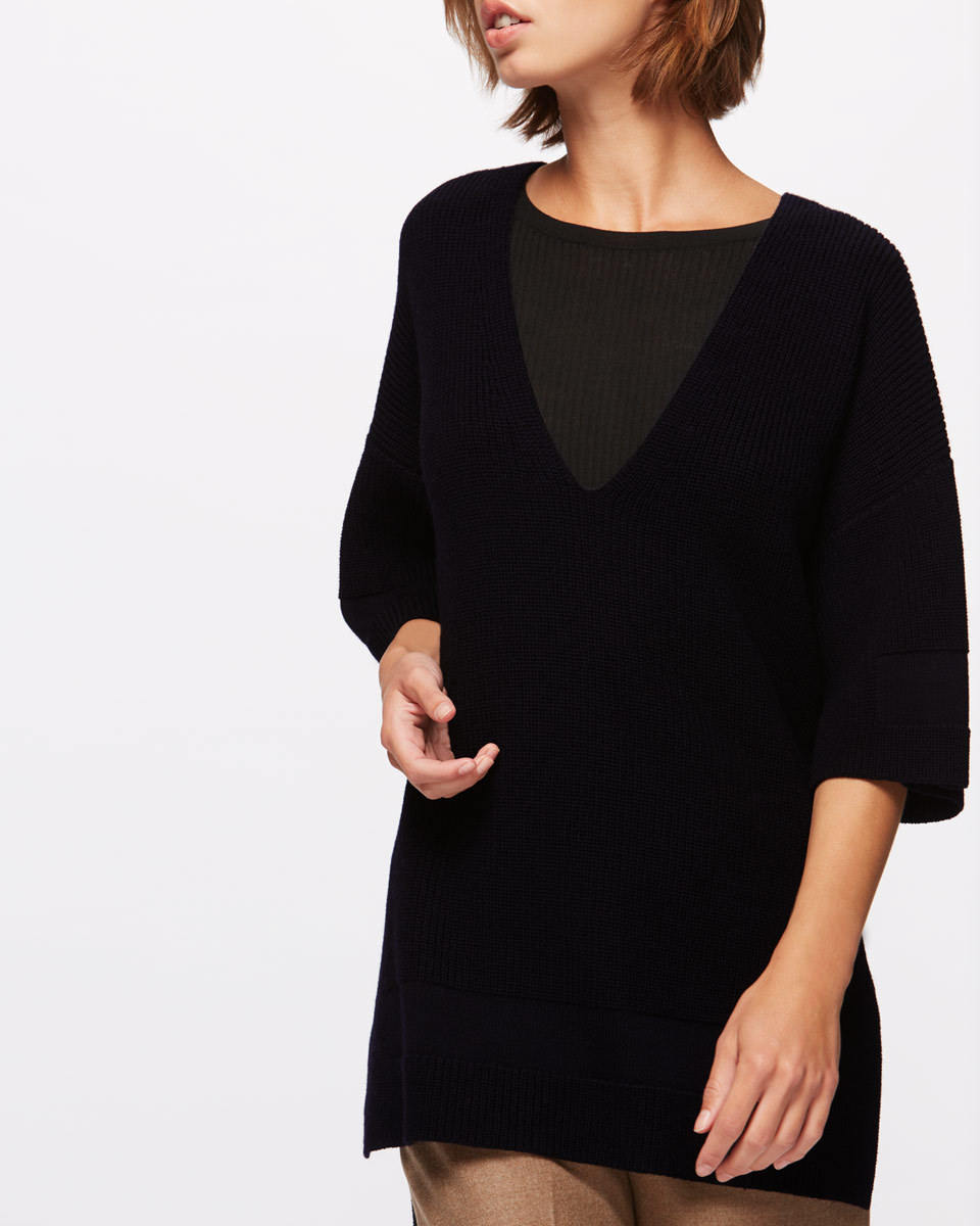 Panelled Kimono Jumper - neckline: round neck; pattern: plain; length: below the bottom; predominant colour: black; occasions: casual, creative work; style: top; fibres: wool - 100%; fit: loose; sleeve length: 3/4 length; sleeve style: standard; texture group: knits/crochet; pattern type: knitted - fine stitch; wardrobe: basic; season: a/w 2016