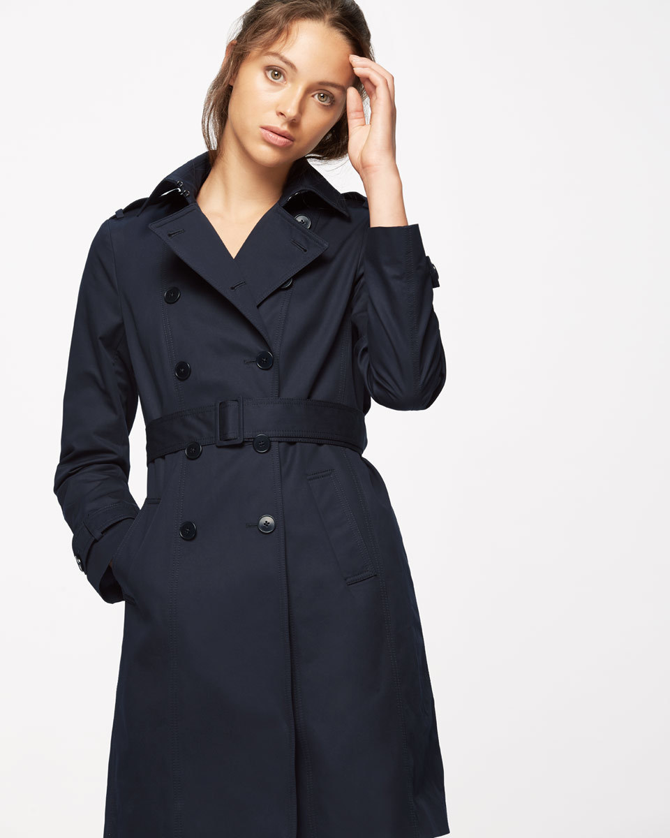 Trench Coat - pattern: plain; shoulder detail: obvious epaulette; style: trench coat; collar: standard lapel/rever collar; length: mid thigh; predominant colour: navy; occasions: work, creative work; fit: tailored/fitted; fibres: cotton - mix; waist detail: belted waist/tie at waist/drawstring; sleeve length: long sleeve; sleeve style: standard; texture group: cotton feel fabrics; collar break: medium; pattern type: fabric; season: a/w 2016; wardrobe: highlight