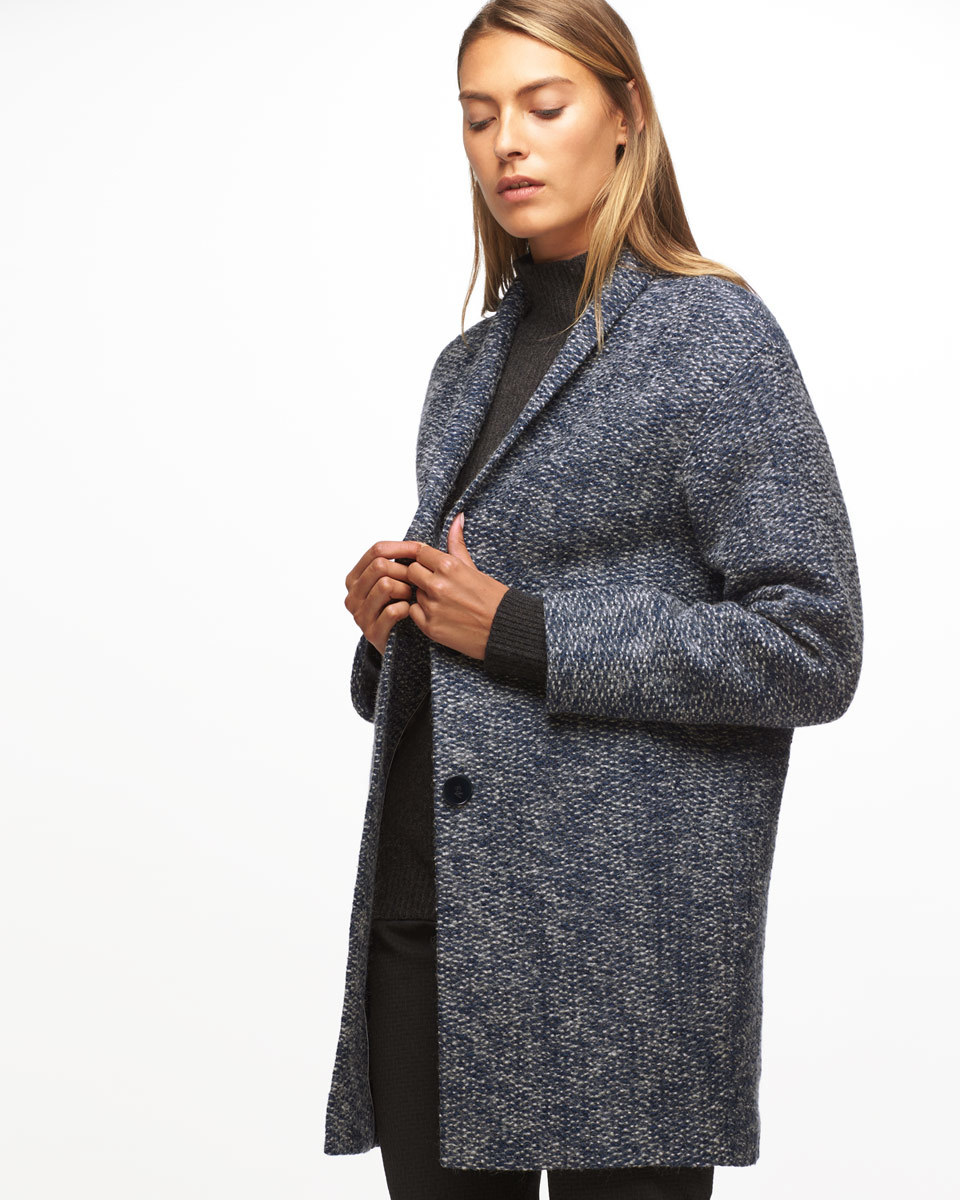 Modern Knit Cocoon Coat - pattern: plain; fit: loose; collar: standard lapel/rever collar; length: mid thigh; secondary colour: ivory/cream; predominant colour: navy; occasions: casual, creative work; style: cocoon; fibres: cotton - mix; sleeve length: long sleeve; sleeve style: standard; texture group: knits/crochet; collar break: low/open; pattern type: knitted - other; pattern size: standard; wardrobe: basic; season: a/w 2016