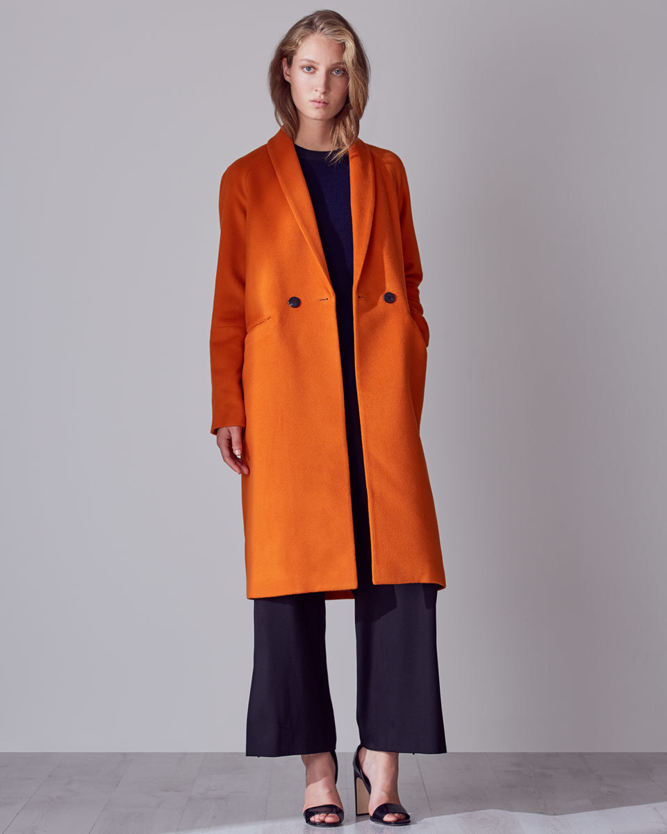 Grace Slim Coat - pattern: plain; collar: shawl/waterfall; style: double breasted; length: on the knee; predominant colour: bright orange; occasions: casual, creative work; fit: straight cut (boxy); fibres: wool - mix; sleeve length: long sleeve; sleeve style: standard; collar break: medium; pattern type: fabric; texture group: woven bulky/heavy; season: a/w 2016