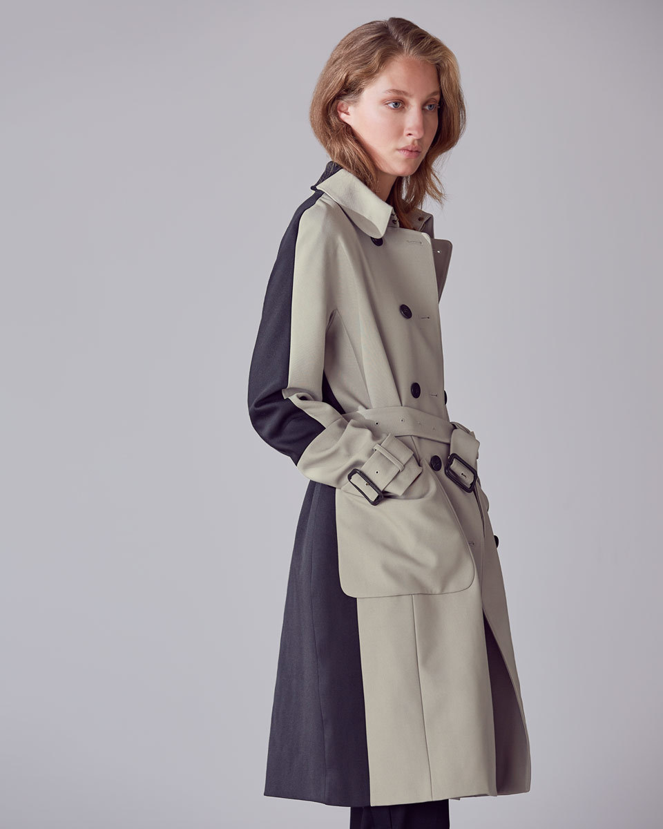 Ada Quilted Trench - style: trench coat; predominant colour: black; occasions: work, creative work; fit: tailored/fitted; fibres: wool - 100%; length: below the knee; collar: shirt collar/peter pan/zip with opening; waist detail: belted waist/tie at waist/drawstring; sleeve length: long sleeve; sleeve style: standard; texture group: technical outdoor fabrics; collar break: high; pattern type: fabric; pattern: colourblock; embellishment: quilted; season: a/w 2016