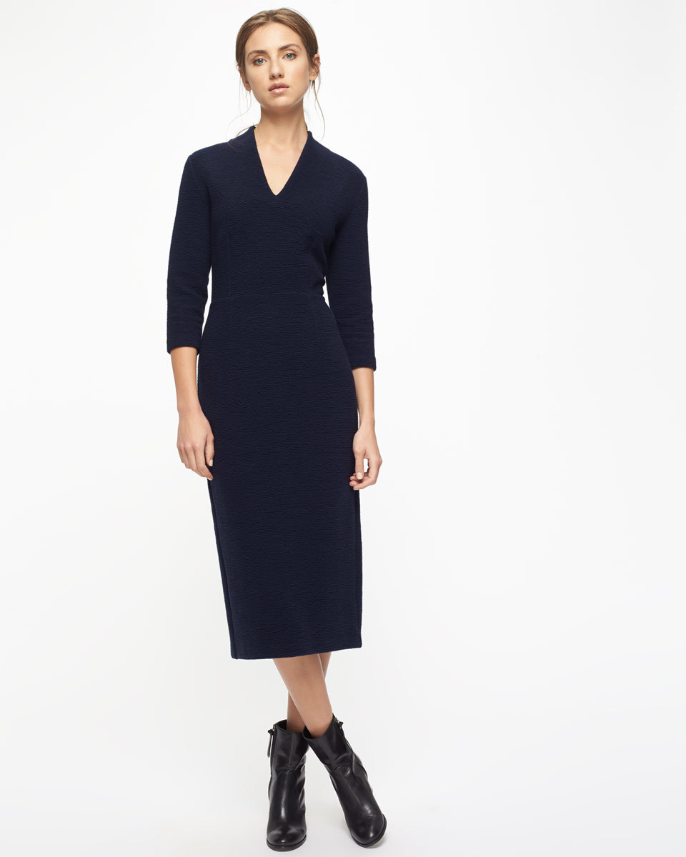 Textured Jersey Dress - style: shift; length: calf length; neckline: v-neck; pattern: plain; predominant colour: black; occasions: evening; fit: body skimming; fibres: cotton - mix; sleeve length: 3/4 length; sleeve style: standard; pattern type: fabric; pattern size: standard; texture group: jersey - stretchy/drapey; season: a/w 2016; wardrobe: event