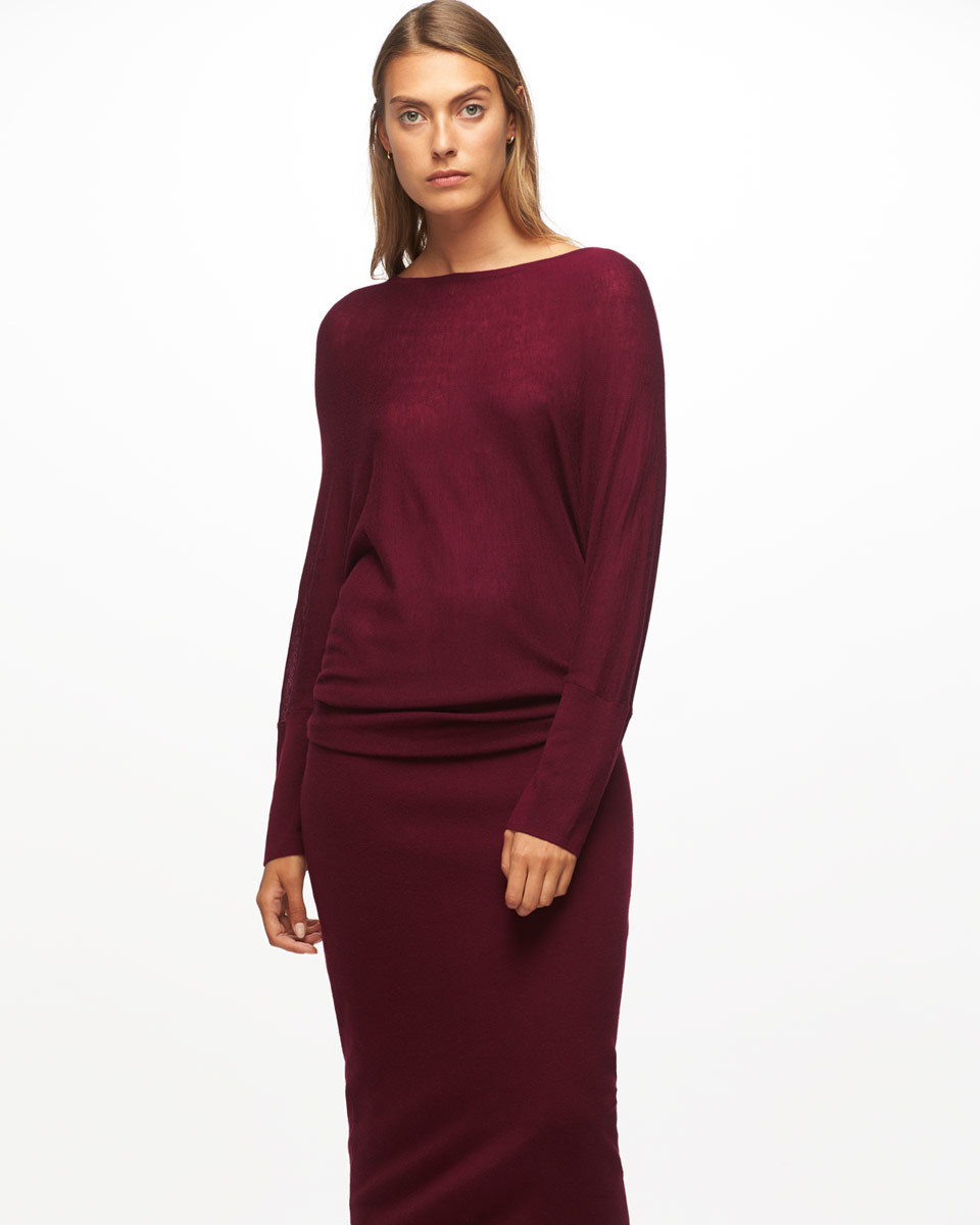 Boat Neck Batwing Dress - style: shift; length: below the knee; neckline: slash/boat neckline; pattern: plain; predominant colour: burgundy; fit: body skimming; fibres: wool - mix; sleeve length: long sleeve; sleeve style: standard; pattern type: knitted - fine stitch; pattern size: standard; texture group: jersey - stretchy/drapey; occasions: creative work; season: a/w 2016; wardrobe: highlight