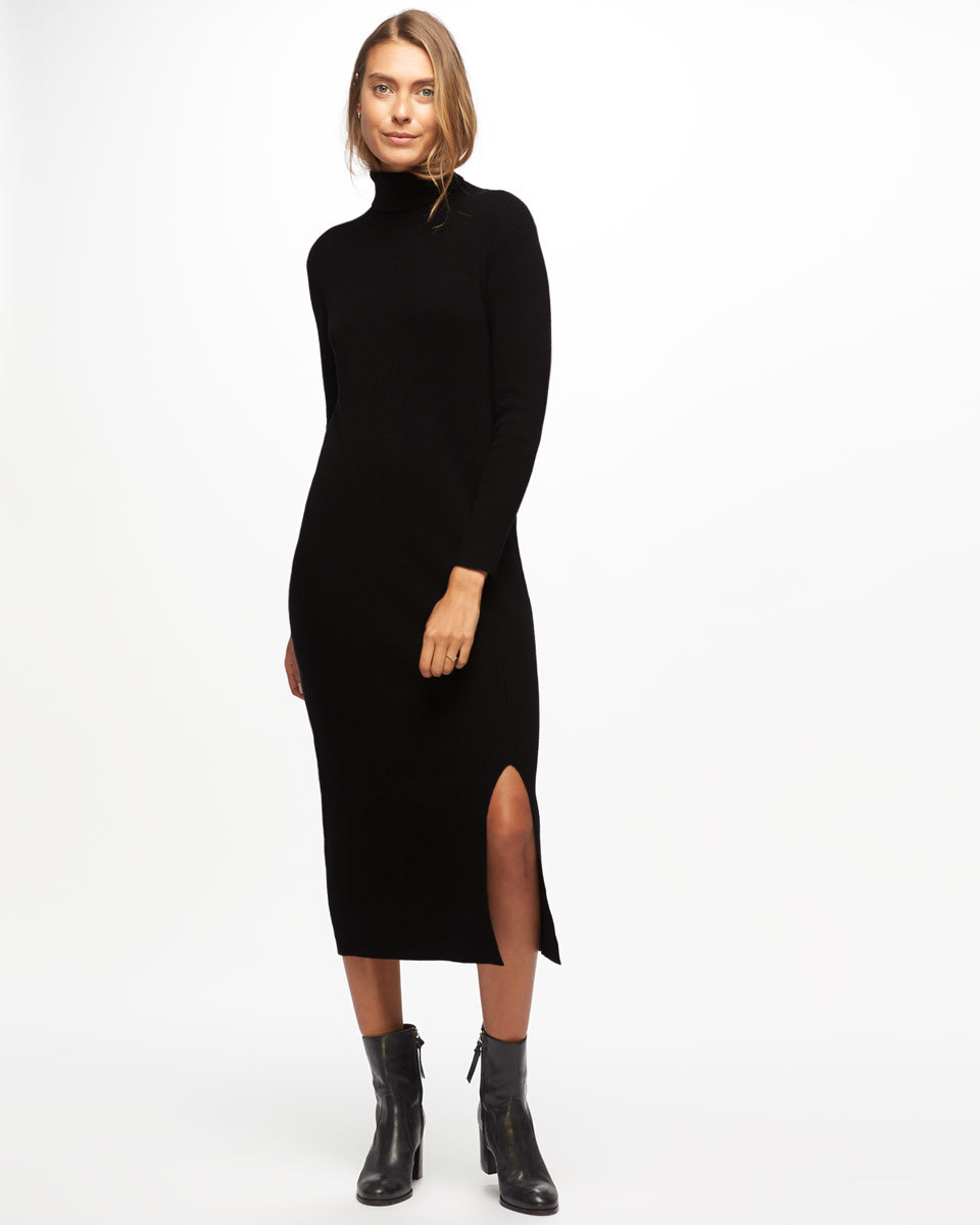 Polo Neck Long Knit Dress - style: jumper dress; length: calf length; pattern: plain; neckline: roll neck; predominant colour: black; occasions: casual; fit: body skimming; fibres: wool - 100%; hip detail: slits at hip; sleeve length: long sleeve; sleeve style: standard; texture group: knits/crochet; pattern type: fabric; season: a/w 2016
