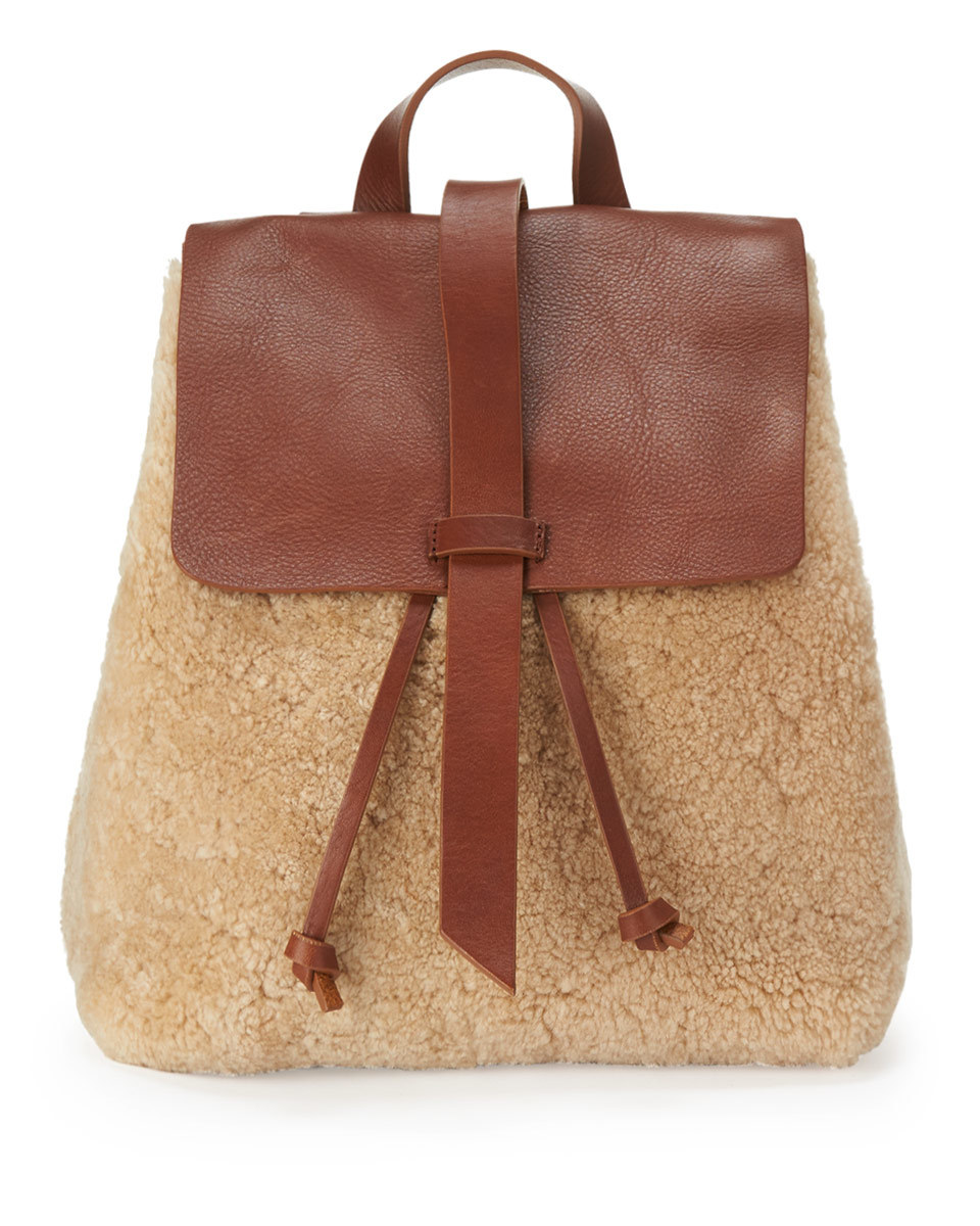 Blake Shearling Backpack - predominant colour: tan; occasions: casual, creative work; type of pattern: light; style: rucksack; length: rucksack; size: standard; material: leather; finish: plain; pattern: colourblock; season: a/w 2016; wardrobe: highlight