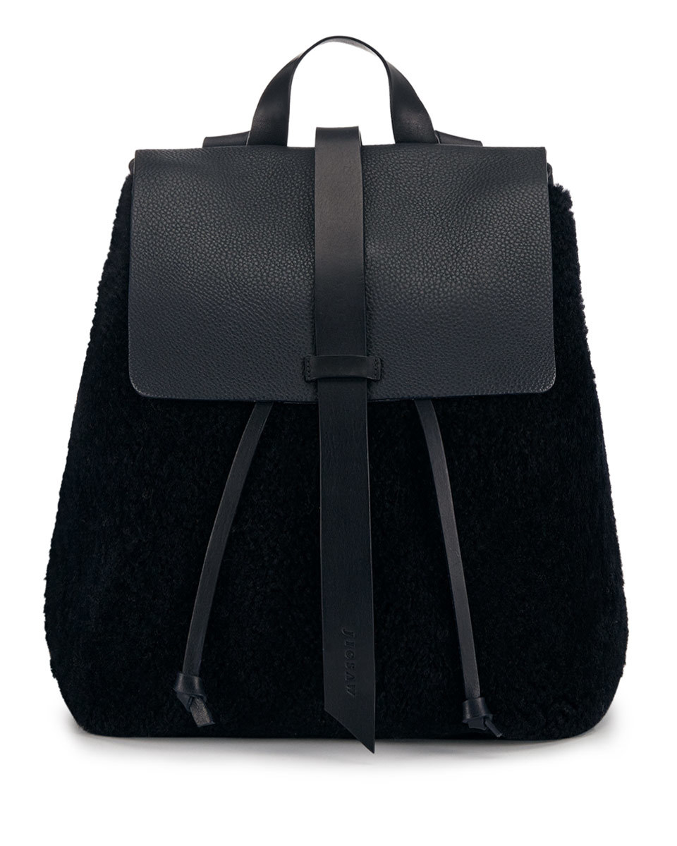 Blake Shearling Backpack - predominant colour: black; occasions: casual, creative work; type of pattern: standard; style: rucksack; length: rucksack; size: standard; material: leather; pattern: plain; finish: plain; season: a/w 2016