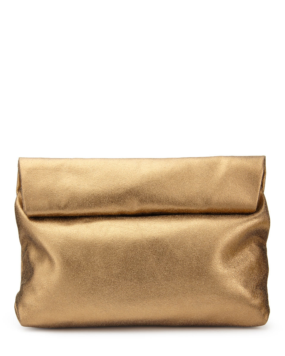 Roll Top Clutch - predominant colour: bronze; occasions: evening, occasion; type of pattern: standard; style: clutch; length: hand carry; size: standard; material: leather; pattern: plain; finish: metallic; season: a/w 2016; wardrobe: event