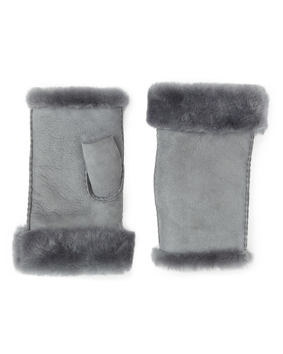 Gia Sheepskin Fingerless Mitten - predominant colour: light grey; occasions: casual; type of pattern: standard; style: fingerless; length: wrist; pattern: plain; material: suede; wardrobe: basic; season: a/w 2016