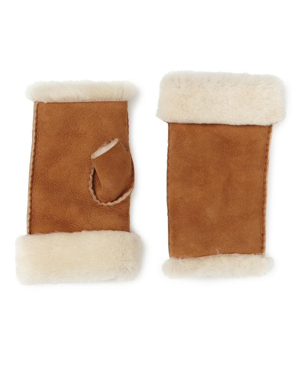 Gia Sheepskin Fingerless Mitten - predominant colour: tan; occasions: casual; type of pattern: standard; style: fingerless; length: wrist; material: suede; pattern: colourblock; season: a/w 2016; wardrobe: highlight