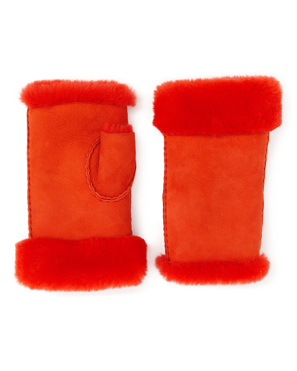Gia Sheepskin Fingerless Mitten - predominant colour: true red; occasions: casual; type of pattern: standard; style: fingerless; length: wrist; pattern: plain; material: suede; season: a/w 2016; wardrobe: highlight
