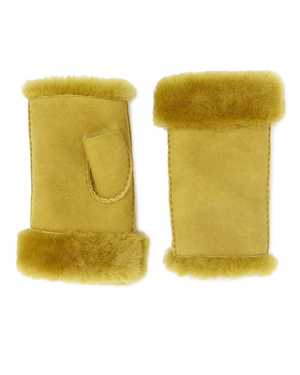Gia Sheepskin Fingerless Mitten - predominant colour: tan; occasions: casual; type of pattern: standard; style: fingerless; length: wrist; pattern: plain; material: suede; season: a/w 2016; wardrobe: highlight