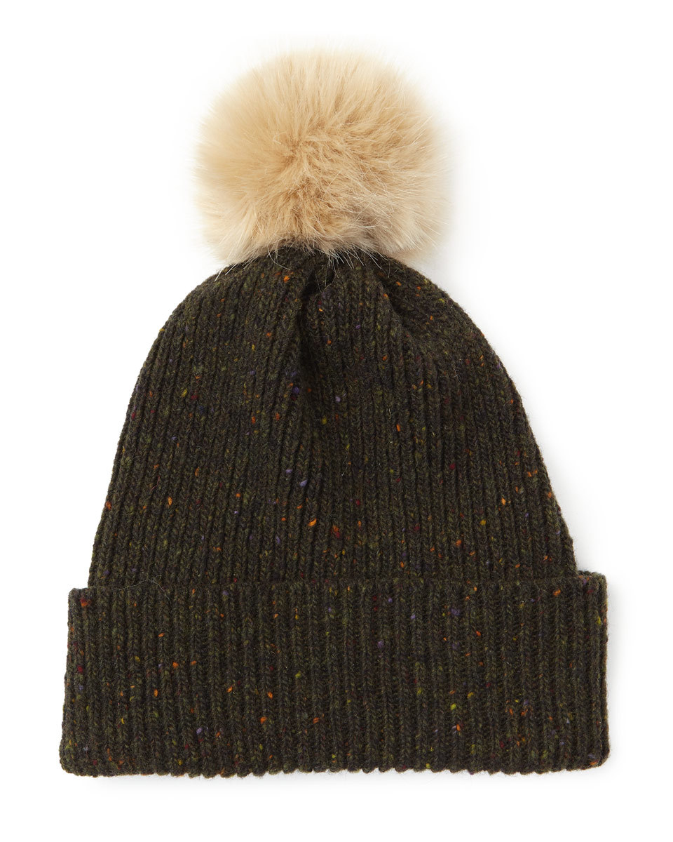 Hana Donegal Pom Hat - secondary colour: nude; predominant colour: khaki; occasions: casual; type of pattern: standard; style: bobble; size: standard; material: knits; pattern: plain; multicoloured: multicoloured; wardrobe: basic; season: a/w 2016