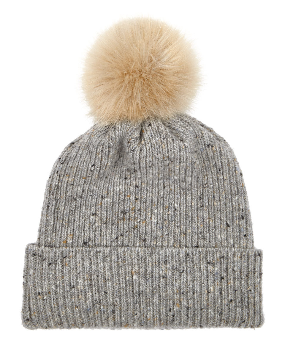 Hana Donegal Pom Hat - secondary colour: nude; predominant colour: light grey; occasions: casual; type of pattern: standard; style: bobble; size: standard; material: knits; pattern: plain; multicoloured: multicoloured; wardrobe: basic; season: a/w 2016