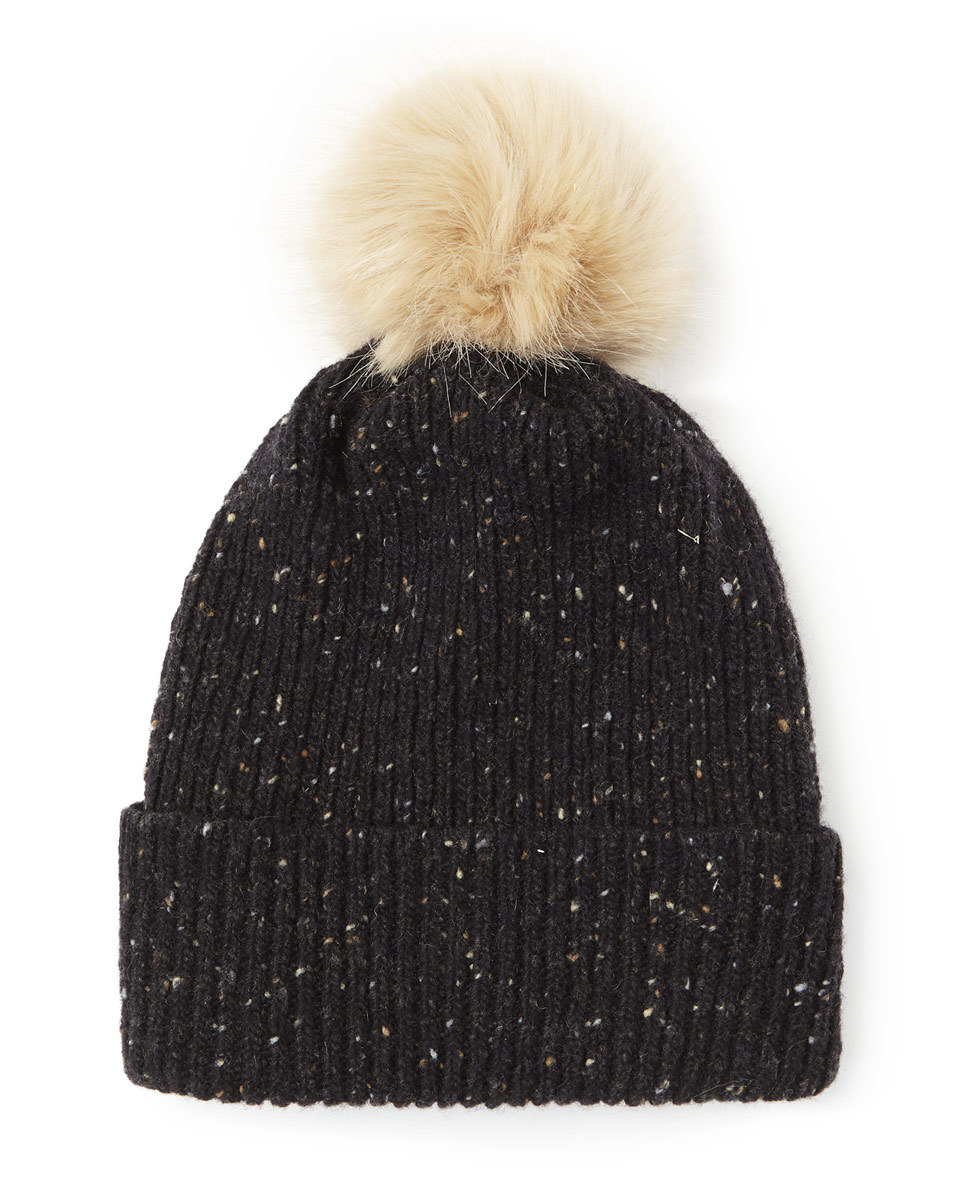Hana Donegal Pom Hat - secondary colour: nude; predominant colour: black; occasions: casual; type of pattern: standard; style: bobble; size: standard; material: knits; pattern: plain; multicoloured: multicoloured; wardrobe: basic; season: a/w 2016
