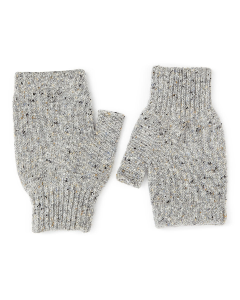 Hana Donegal Fingerless Mittens - predominant colour: light grey; occasions: casual; type of pattern: standard; style: fingerless; length: wrist; material: knits; pattern: plain; wardrobe: basic; season: a/w 2016