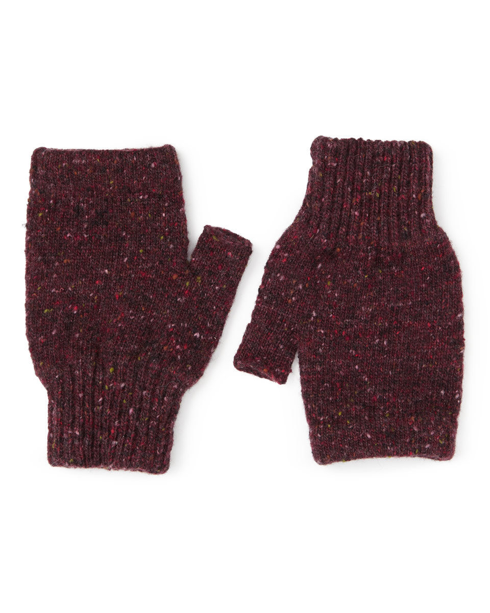 Hana Donegal Fingerless Mittens - predominant colour: burgundy; occasions: casual; type of pattern: standard; style: fingerless; length: wrist; material: knits; pattern: plain; season: a/w 2016; wardrobe: highlight