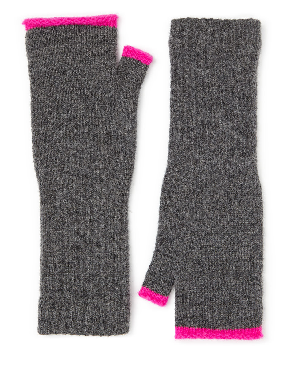 Shona Contrast Turnback Mitten - predominant colour: charcoal; occasions: casual; type of pattern: standard; style: fingerless; length: half; material: knits; pattern: colourblock; season: a/w 2016; wardrobe: highlight
