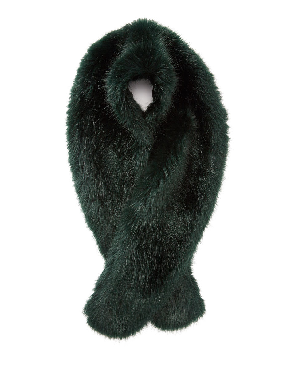 Serene Faux Fur Scarf - predominant colour: dark green; occasions: casual; type of pattern: standard; size: standard; material: faux fur; pattern: plain; embellishment: fur; style: stole; season: a/w 2016; wardrobe: highlight
