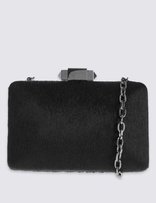 Faux Fur Pyramid Clasp Clutch Bag - predominant colour: black; occasions: evening, occasion; type of pattern: standard; style: clutch; length: across body/long; size: small; material: fabric; pattern: plain; finish: plain; season: a/w 2016; wardrobe: event