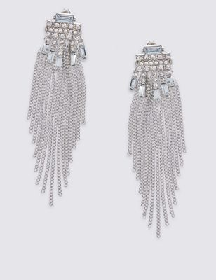 Diamanté Baguette Drops Earrings - predominant colour: silver; occasions: evening, occasion; style: drop; length: long; size: standard; material: chain/metal; fastening: pierced; finish: metallic; embellishment: crystals/glass; season: a/w 2016; wardrobe: event