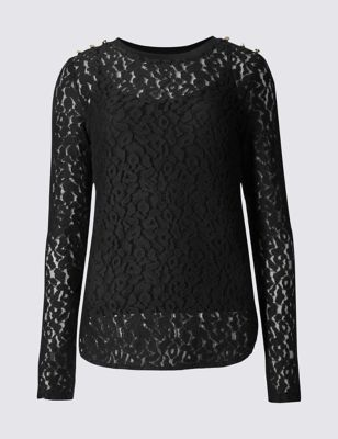 Animal Brushed Lace Long Sleeve Jersey Top - predominant colour: black; occasions: evening; length: standard; style: top; fibres: cotton - stretch; fit: body skimming; neckline: crew; sleeve length: long sleeve; sleeve style: standard; texture group: lace; pattern type: fabric; pattern: patterned/print; embellishment: lace; pattern size: big & busy (top); season: a/w 2016; wardrobe: event