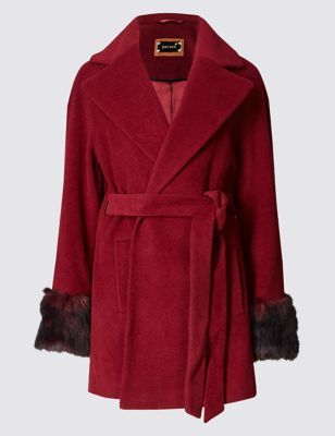 Textured Overcoat With Wool - pattern: plain; collar: wide lapels; style: wrap around; length: mid thigh; predominant colour: true red; occasions: casual, occasion, creative work; fit: tailored/fitted; fibres: wool - mix; waist detail: belted waist/tie at waist/drawstring; sleeve length: long sleeve; sleeve style: standard; collar break: medium; pattern type: fabric; texture group: woven bulky/heavy; embellishment: fur; season: a/w 2016