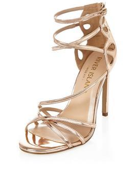 Wide Fit Cross Strap Sandal - predominant colour: gold; occasions: evening, occasion; material: fabric; heel height: high; ankle detail: ankle strap; heel: stiletto; toe: open toe/peeptoe; style: strappy; finish: metallic; pattern: plain; season: a/w 2016; trends: metallics