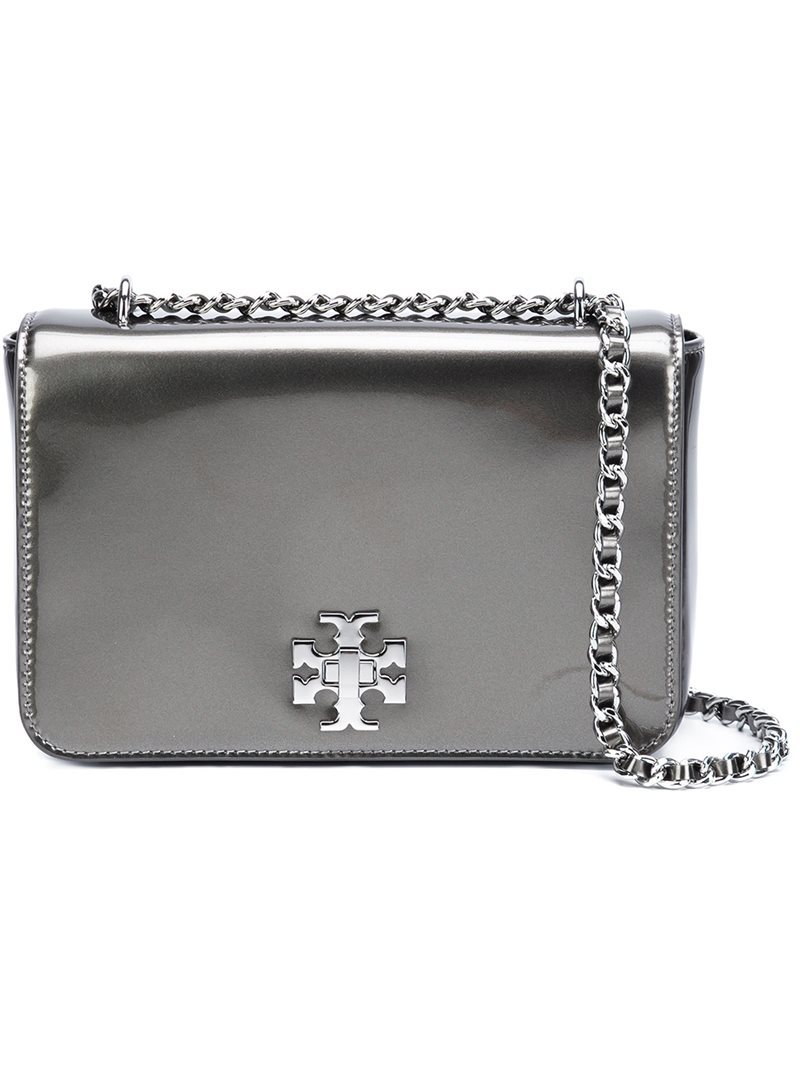 Metallic Shoulder Bag, Women's, Grey - predominant colour: silver; occasions: evening, occasion; type of pattern: standard; style: clutch; length: shoulder (tucks under arm); size: standard; material: leather; pattern: plain; finish: metallic; season: a/w 2016; wardrobe: event; trends: metallics