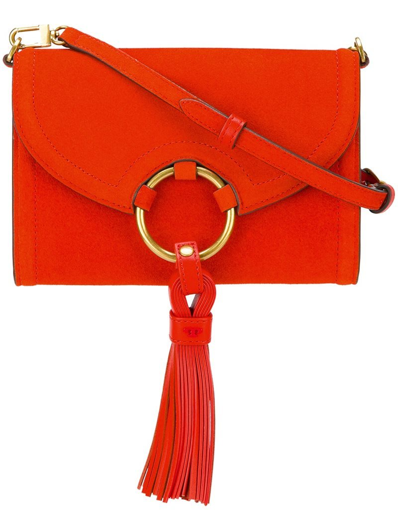 Tasseled Hoop Cross Body Bag, Women's, Red - predominant colour: true red; occasions: casual, creative work; type of pattern: light; style: messenger; length: across body/long; size: standard; material: suede; embellishment: tassels; pattern: plain; finish: plain; season: a/w 2016; wardrobe: highlight