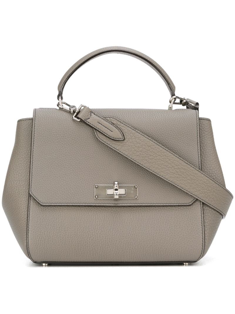 Top Handle Shoulder Bag, Women's, Grey - predominant colour: mid grey; occasions: casual, work, creative work; type of pattern: standard; style: tote; length: handle; size: standard; material: leather; pattern: plain; finish: plain; wardrobe: investment; season: a/w 2016
