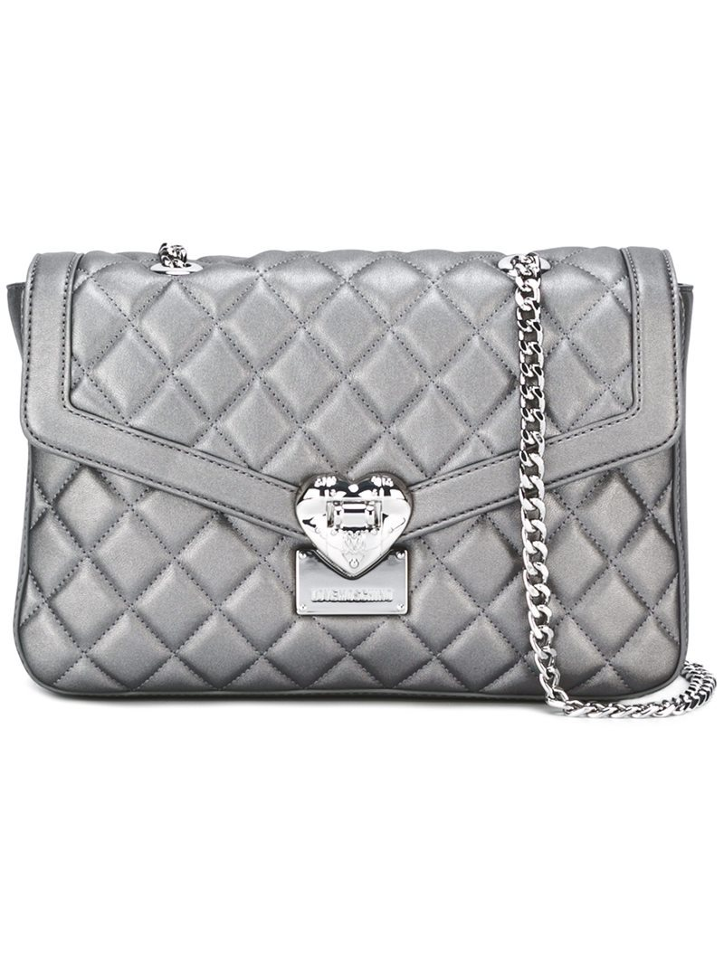 Quilted Shoulder Bag, Women's, Grey - predominant colour: silver; occasions: casual; type of pattern: standard; style: shoulder; length: shoulder (tucks under arm); size: small; material: leather; embellishment: quilted; pattern: plain; finish: metallic; season: a/w 2016; wardrobe: highlight