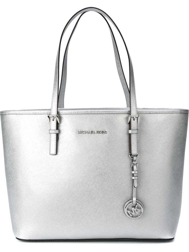 Large 'jet Set Travel' Tote, Women's, Grey - predominant colour: silver; occasions: casual, creative work; type of pattern: standard; style: tote; length: handle; size: oversized; material: leather; pattern: plain; finish: metallic; season: a/w 2016; wardrobe: highlight
