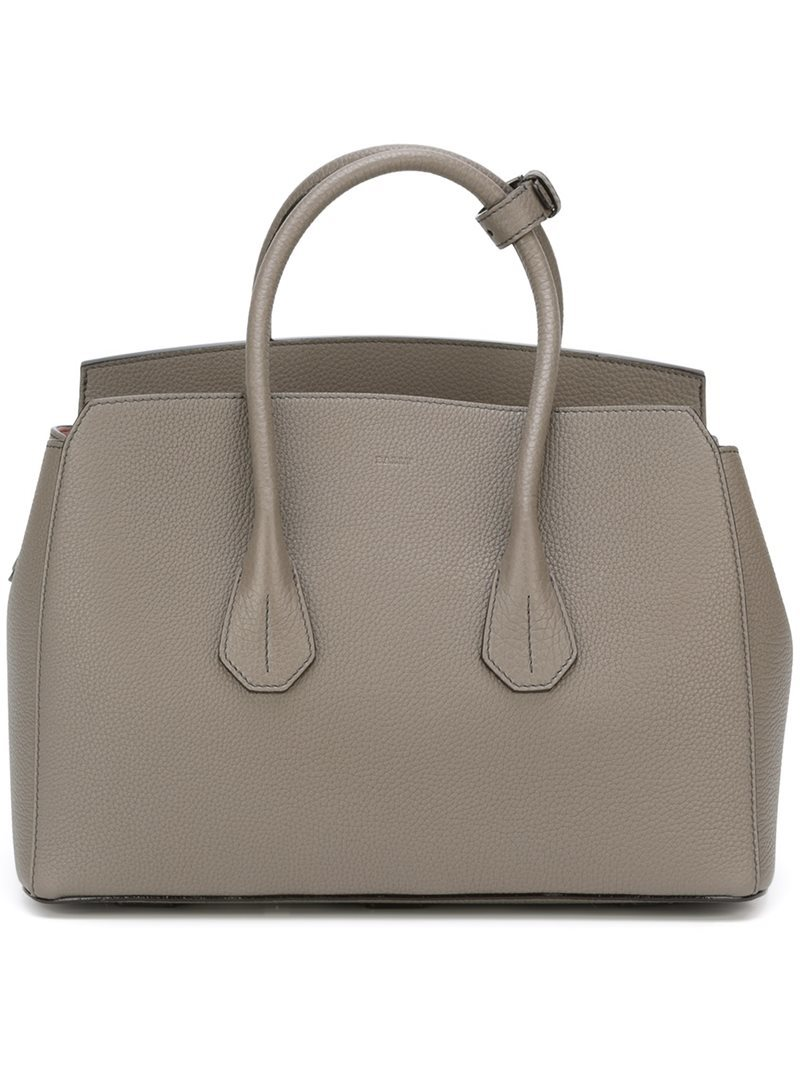 Medium 'sommet' Tote, Women's, Grey - predominant colour: mid grey; occasions: casual; type of pattern: standard; style: tote; length: handle; size: standard; material: leather; pattern: plain; finish: plain; wardrobe: investment; season: a/w 2016
