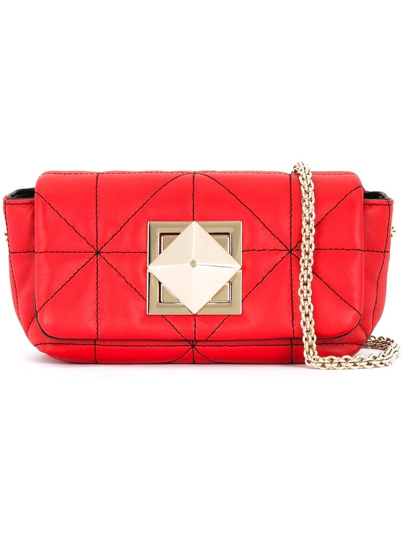 Quilted Shoulder Bag, Women's, Red - predominant colour: true red; occasions: casual, creative work; type of pattern: standard; style: shoulder; length: shoulder (tucks under arm); size: small; material: leather; embellishment: quilted; pattern: plain; finish: plain; season: a/w 2016