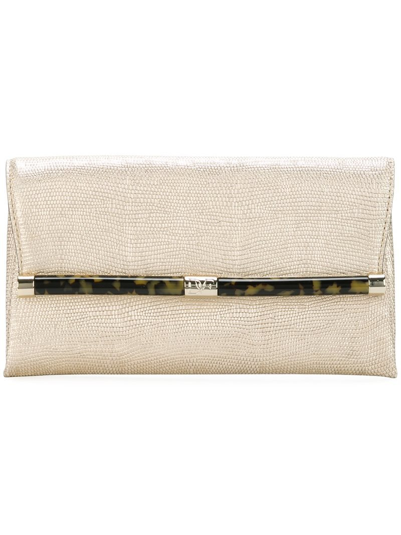 Lizard Skin Effect Clutch Bag, Women's, Grey - predominant colour: ivory/cream; occasions: evening; type of pattern: standard; style: clutch; length: hand carry; size: small; material: leather; pattern: plain; finish: plain; season: a/w 2016; wardrobe: event