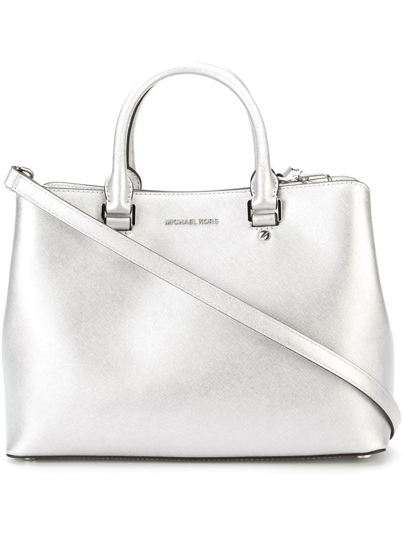 'savannah' Tote, Women's, Grey - predominant colour: silver; occasions: casual; type of pattern: standard; style: tote; length: handle; size: standard; material: leather; pattern: plain; finish: metallic; season: a/w 2016; wardrobe: highlight