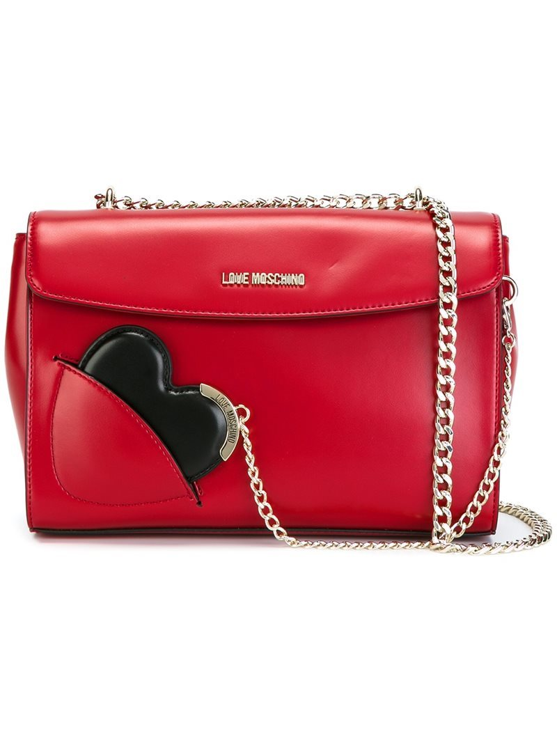 Heart Shoulder Bag, Women's, Red - predominant colour: true red; occasions: casual, creative work; type of pattern: light; style: shoulder; length: shoulder (tucks under arm); size: small; material: leather; pattern: plain; finish: plain; season: a/w 2016; wardrobe: highlight