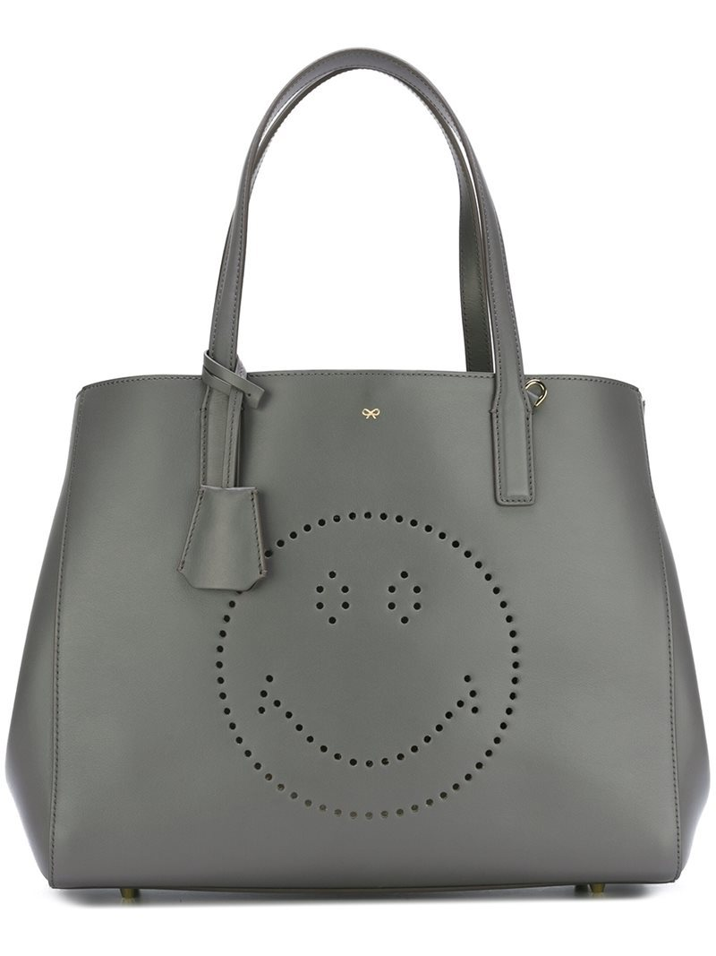 'ebury' Smiley Shopper, Women's, Grey - predominant colour: charcoal; occasions: casual; type of pattern: light; style: tote; length: shoulder (tucks under arm); size: standard; material: leather; finish: plain; pattern: patterned/print; season: a/w 2016; wardrobe: highlight