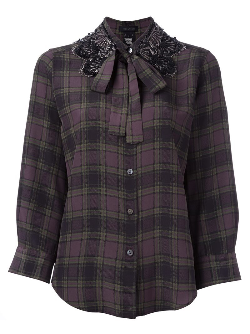 Embellished Collar Check Shirt, Women's, Green - pattern: checked/gingham; style: shirt; neckline: pussy bow; predominant colour: purple; secondary colour: black; occasions: casual, creative work; length: standard; fibres: silk - 100%; fit: body skimming; sleeve length: long sleeve; sleeve style: standard; texture group: silky - light; pattern type: fabric; pattern size: standard; embellishment: lace; multicoloured: multicoloured; season: a/w 2016; wardrobe: highlight