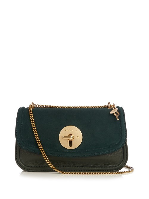 Louis Leather Cross Body Bag - predominant colour: dark green; secondary colour: black; occasions: casual, creative work; type of pattern: standard; style: shoulder; length: across body/long; size: standard; material: leather; pattern: plain; finish: plain; embellishment: chain/metal; season: a/w 2016; wardrobe: highlight