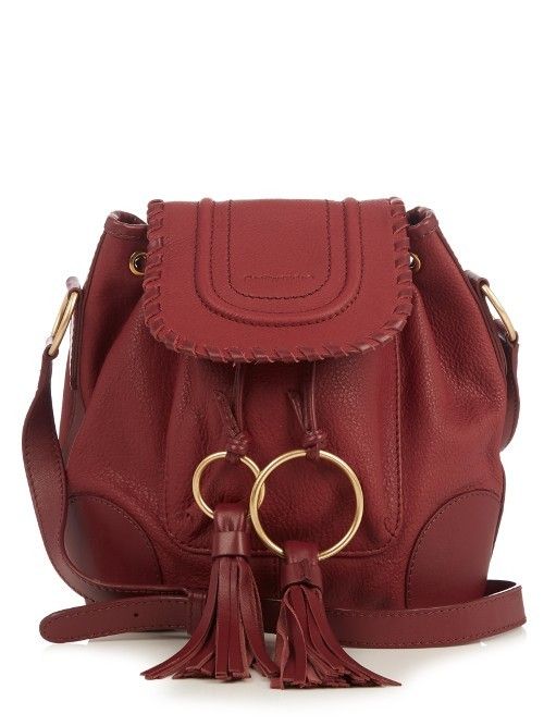 Polly Leather Bucket Bag - predominant colour: burgundy; occasions: casual, creative work; type of pattern: standard; length: across body/long; size: standard; material: leather; embellishment: tassels; pattern: plain; finish: plain; style: hobo; season: a/w 2016