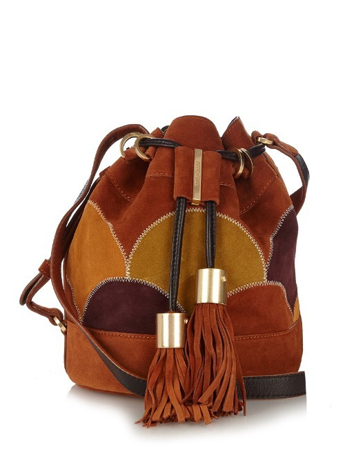 Vicki Suede Bucket Bag - predominant colour: tan; occasions: casual, creative work; type of pattern: standard; length: across body/long; size: standard; material: suede; embellishment: tassels; finish: plain; pattern: colourblock; style: hobo; season: a/w 2016