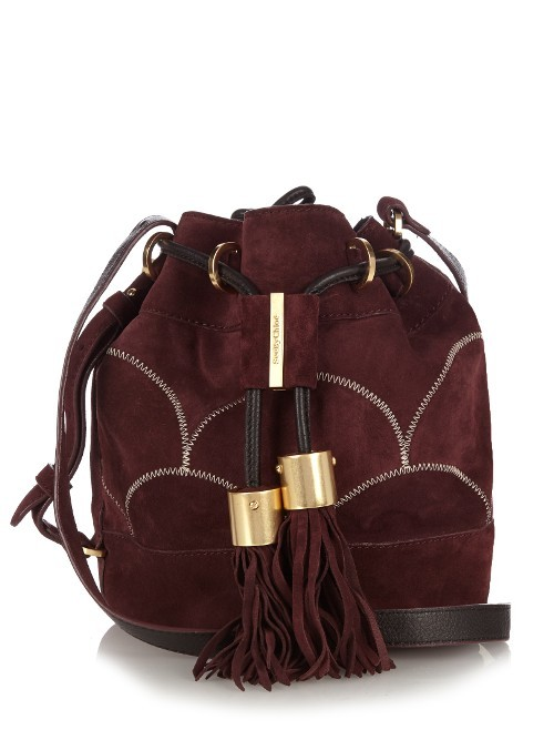 Vicki Suede Bucket Bag - predominant colour: aubergine; occasions: casual, creative work; type of pattern: standard; style: onion bag; length: across body/long; size: standard; material: suede; embellishment: tassels; pattern: plain; finish: plain; season: a/w 2016; wardrobe: highlight