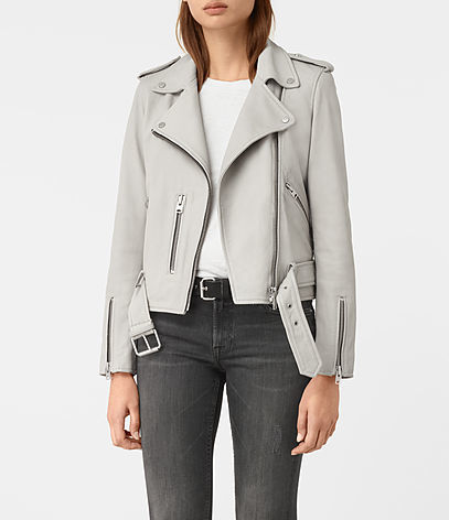 Balfern Leather Biker Jacket - pattern: plain; style: biker; collar: asymmetric biker; fit: slim fit; predominant colour: light grey; occasions: casual, creative work; length: standard; fibres: leather - 100%; sleeve length: long sleeve; sleeve style: standard; texture group: leather; collar break: medium; pattern type: fabric; wardrobe: basic; season: a/w 2016