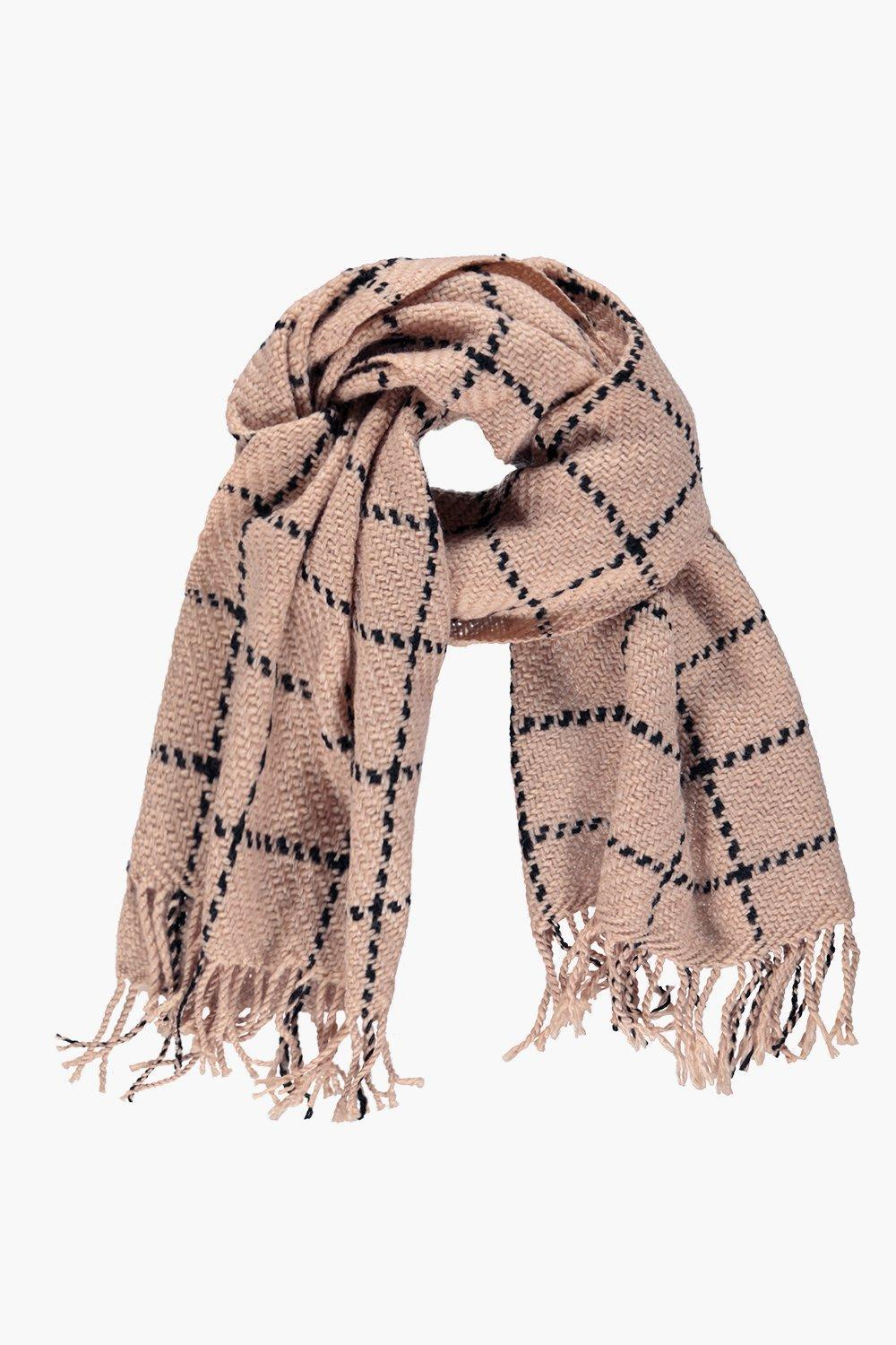 Checked Large Wrap Scarf Stone - secondary colour: navy; predominant colour: nude; occasions: casual, creative work; type of pattern: standard; style: regular; size: standard; material: knits; embellishment: fringing; pattern: checked/gingham; season: a/w 2016; wardrobe: highlight