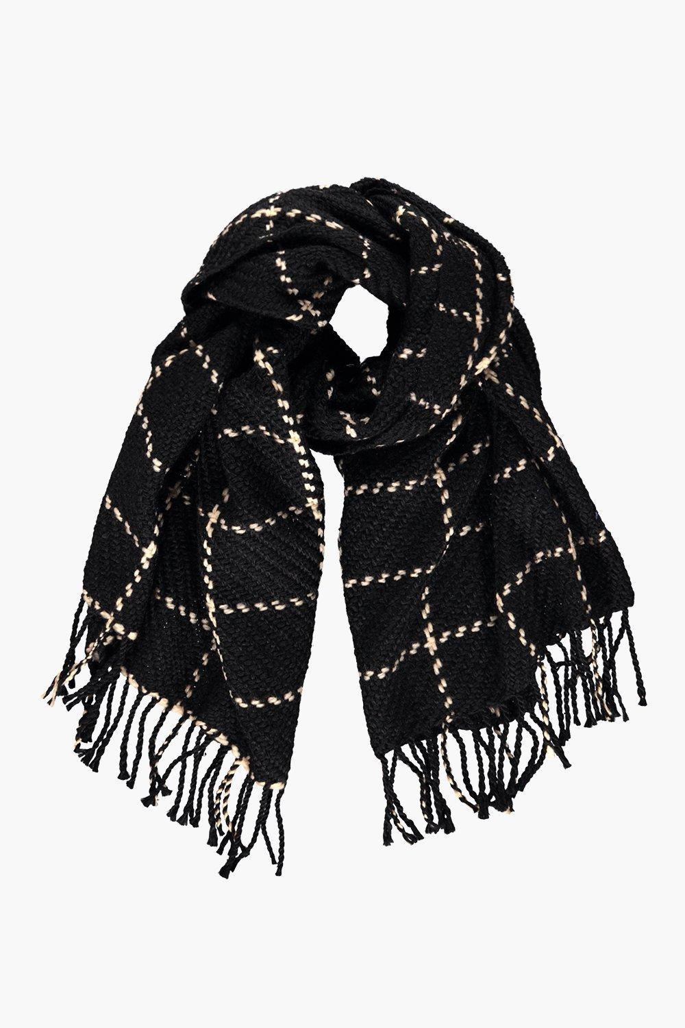 Checked Large Wrap Scarf Black - secondary colour: ivory/cream; predominant colour: black; occasions: casual, creative work; type of pattern: standard; style: regular; size: large; material: knits; embellishment: fringing; pattern: checked/gingham; season: a/w 2016; wardrobe: highlight