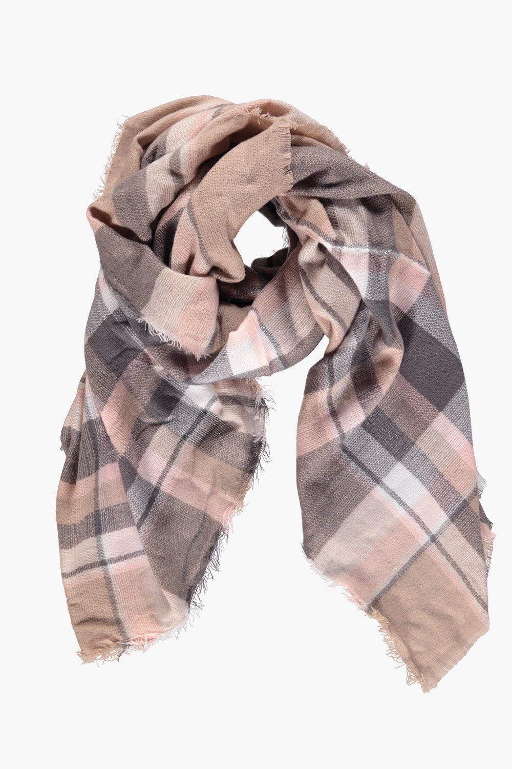 Tartan Check Oversized Wrap Scarf Multi - predominant colour: blush; secondary colour: charcoal; occasions: casual, creative work; type of pattern: light; style: square; size: large; material: knits; pattern: checked/gingham; season: a/w 2016